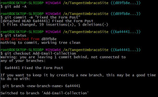 git checkout with orphaned change output