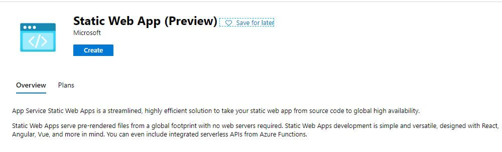Azure Static Web App Summary Screen