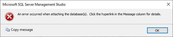 SQL Server Attach Database Error