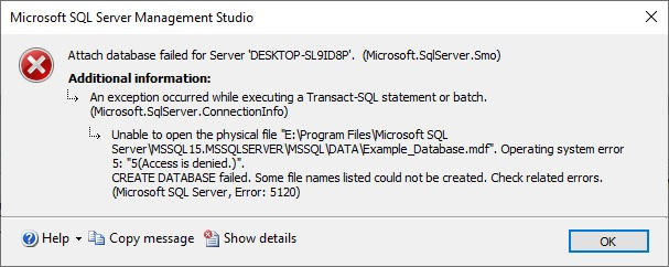 SQL Server Attach Database Error Access is Denied