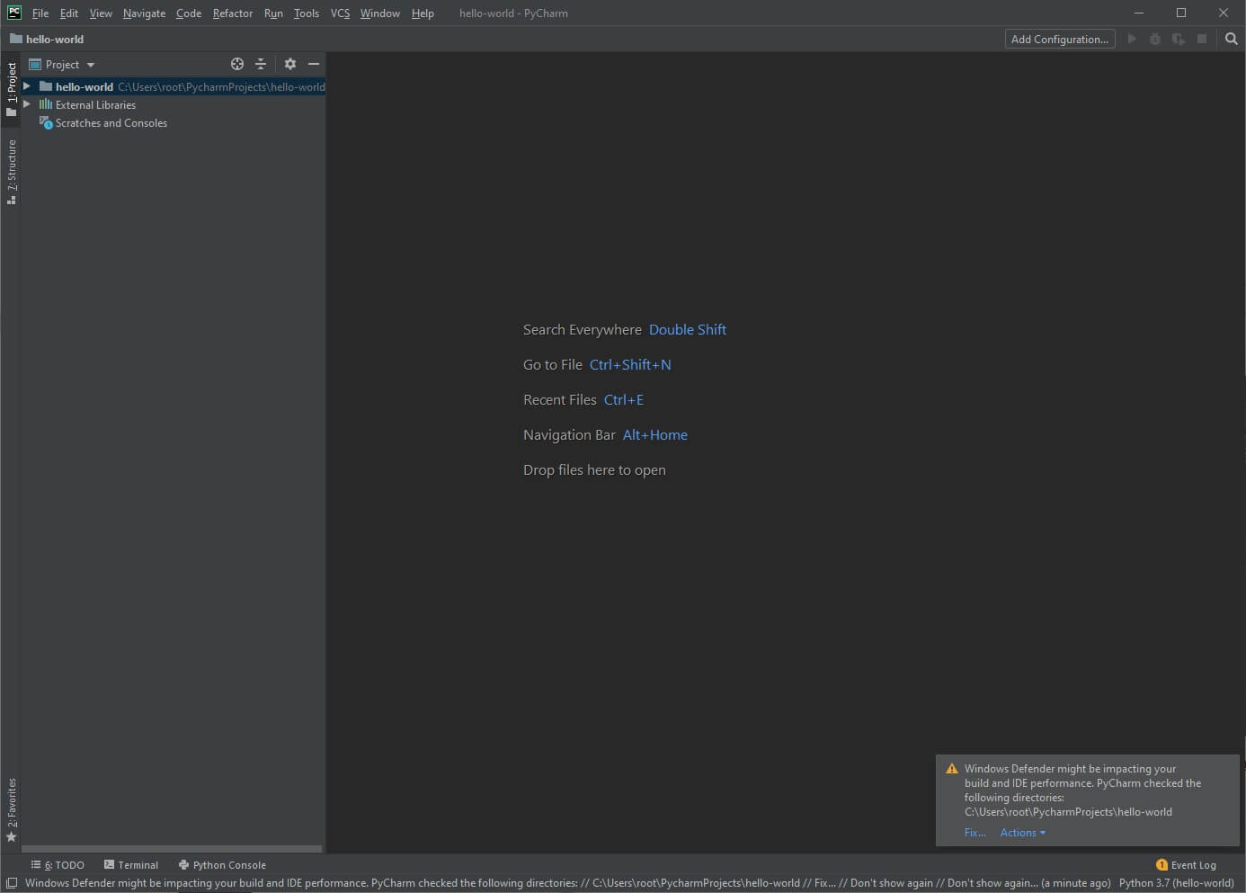 PyCharm Integrated Development Environment New Project
