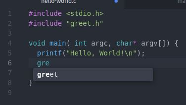 Atom autocomplete displaying the greet function